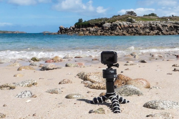 A GoPro camera mounted on a Flow-Mo panning head fitted to a ball head on a GorrillaPod.