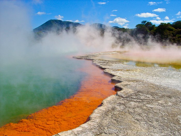 Steamy champagne pool in New Zealand