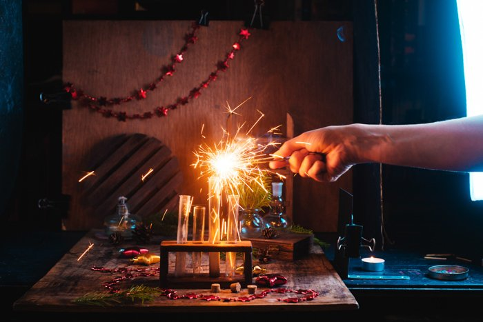 A magical Christmas still life photography setup with sparklers