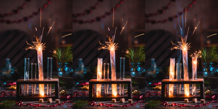 A magical Christmas still life photography triptych with sparklers
