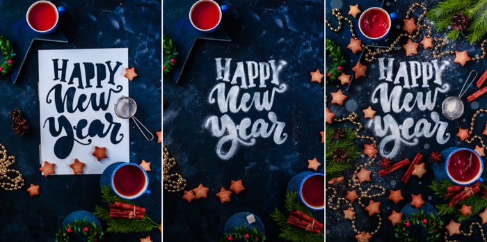 A magical Christmas photography triptych with food typography