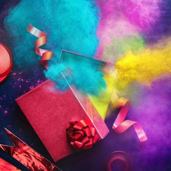 A colorful Christmas photography flat lay