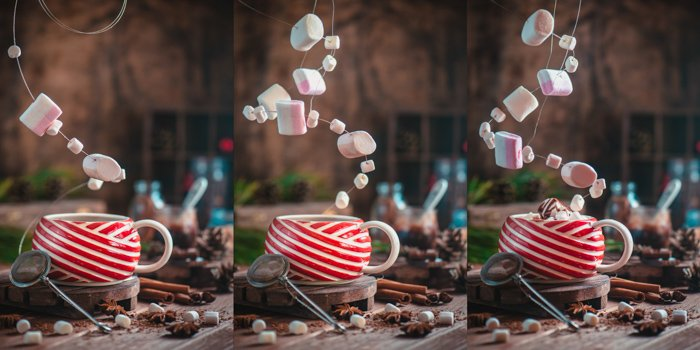 A magical Christmas photography triptych of a coffee cup and levitating marshmallows