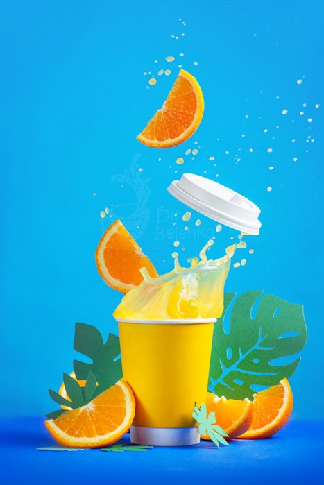 A still life photography shot featuring contrasting colors blue and yellow