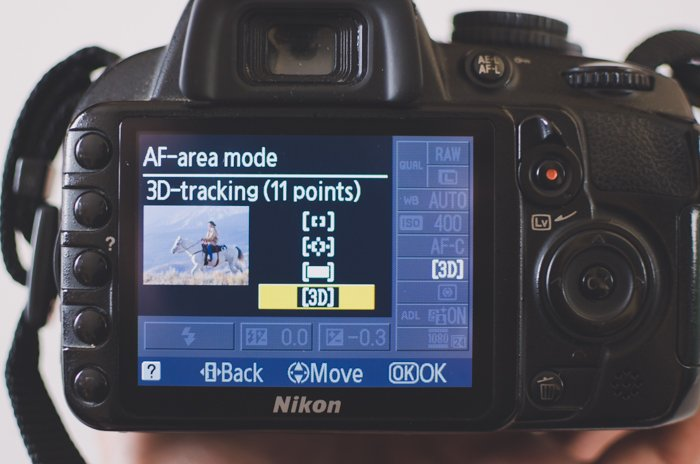 The screen of a Nikon DSLR showing AF-area mode settings - 3D tracking