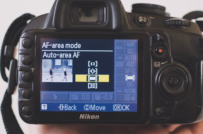The screen of a Nikon DSLR photography camera showing AF-area mode settings