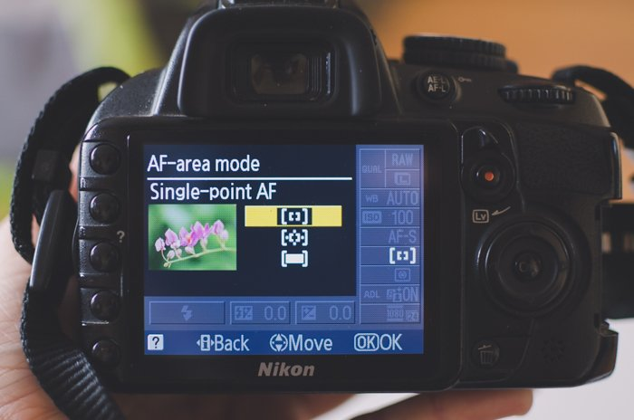 The screen of a Nikon DSLR showing AF-area mode settings