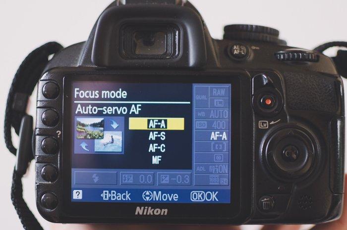 A photo of the focus mode menu on a Nikon camera- DSLR basics
