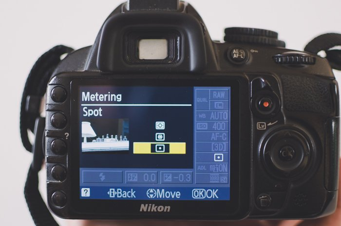 The screen of a DSLR showing metering camera settings