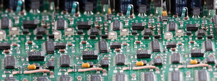 A four photo macro photography grid of a circuit board