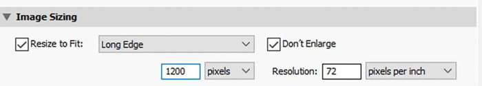 Screenshot of how to resize an image in Lightroom