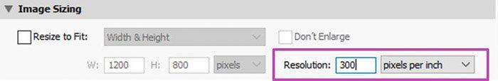Screenshot of selecting image resolution in lightroom