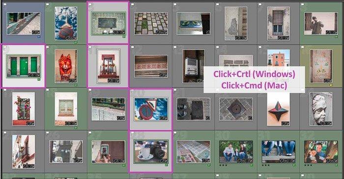 Screenshot of selecting multiple images in lightroom