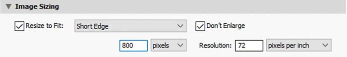 Screenshot of how to resize an image in Lightroom with short edge