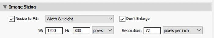 Screenshot of resizing an image in lightroom according to width and height