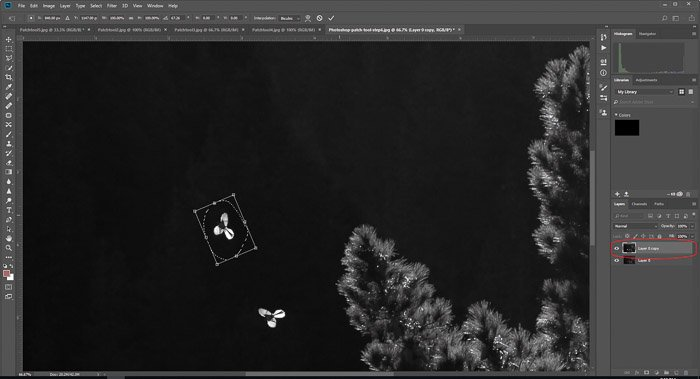 A screenshot of moving shapes by using the Photoshop patch-tool