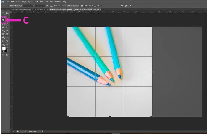 Screenshot of using the crop tool shortcut on Photoshop