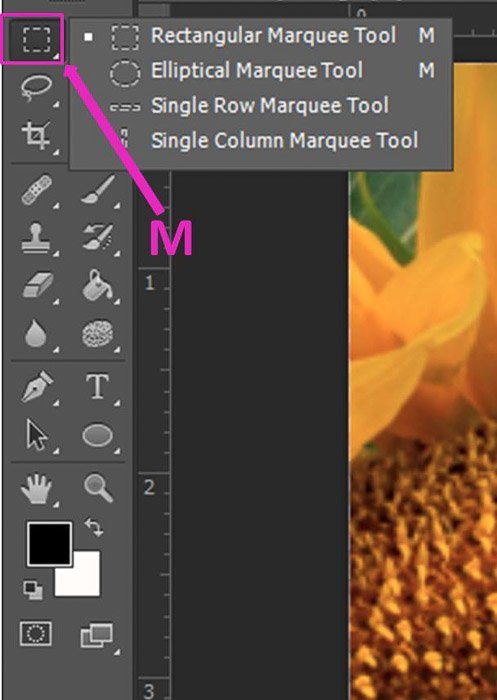 Screenshot of opening the Marquee Tool shortcut on Photoshop