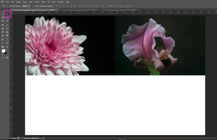 Screenshot of using the move tool with Photoshop shortcuts