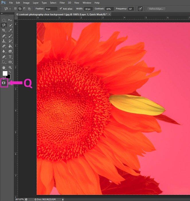 Screenshot of using the quick mask Photoshop keyboard shortcuts