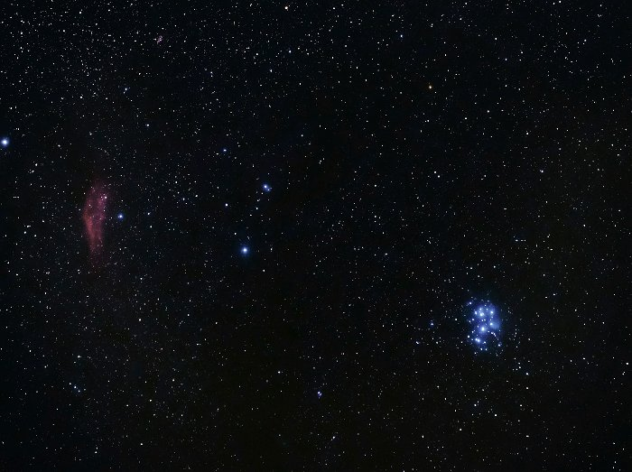 Pleiades and California Nebula teams up to create an interesting image, thanks also to the different colours.