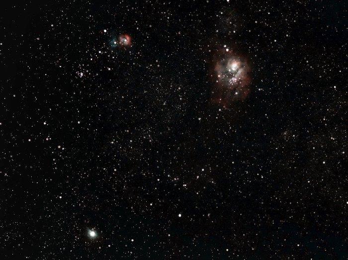 Saturn and the Lagoon and Trifid Nebulae.