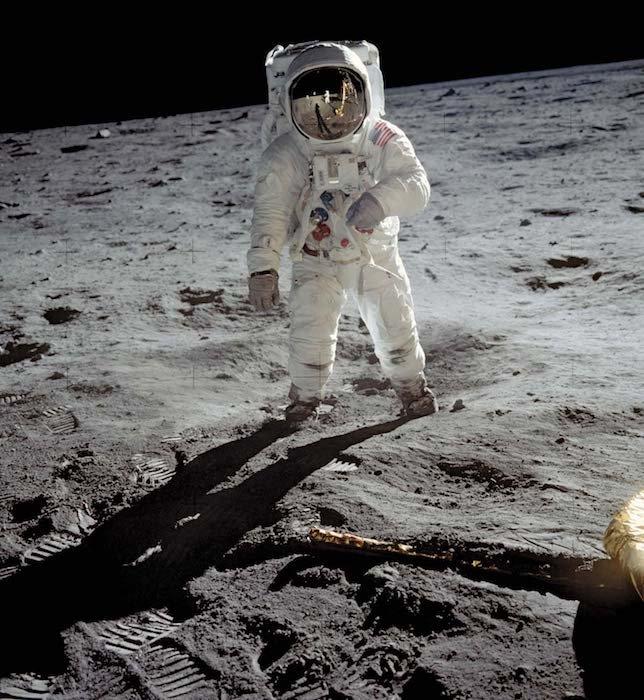 """U.S. astronaut Edwin (""""Buzz"""") Aldrin walking on the Moon, July 20, 1969."""