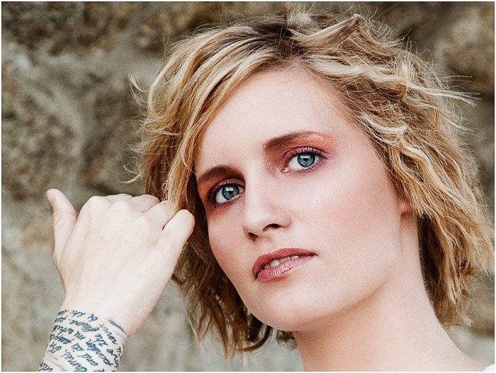 Close up beauty portrait of a blonde model - magazine photography