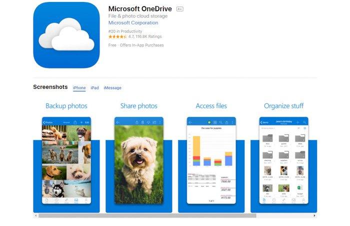 Screenshot of Microsoft Onedrive app homepage - best photo storage app