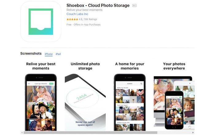 Screenshot of Shoebox cloud photo storage app homepage