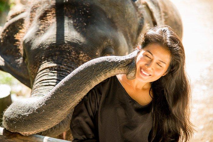 An outdoor portrait photographyshot of a girl beside an elephant