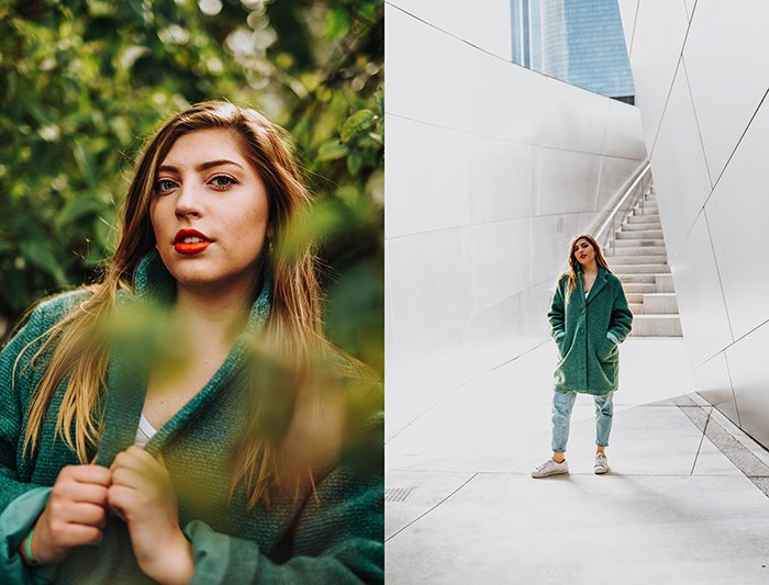 A bright and airy diptych of a female model posing outdoors