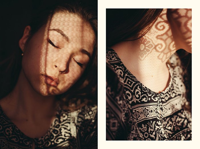 Dreamy diptych photography portrait of a female model