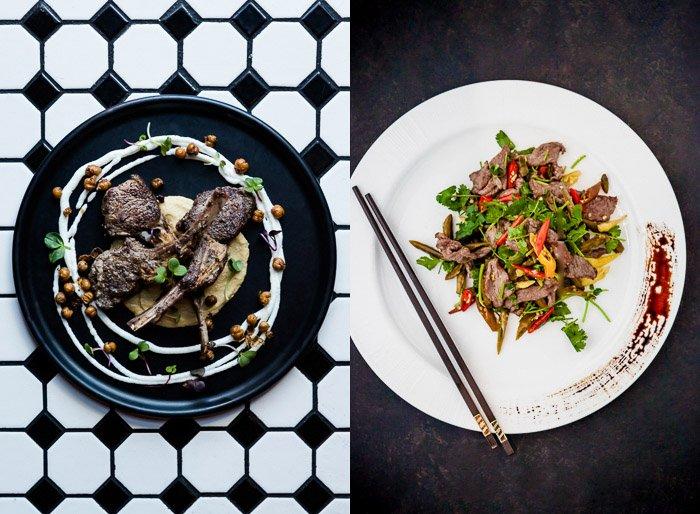 An overhead editorial restaurant photography diptych