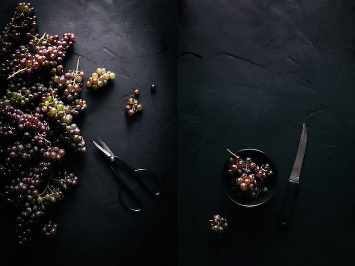 A dark and atmospheric fine art food photography still life diptych