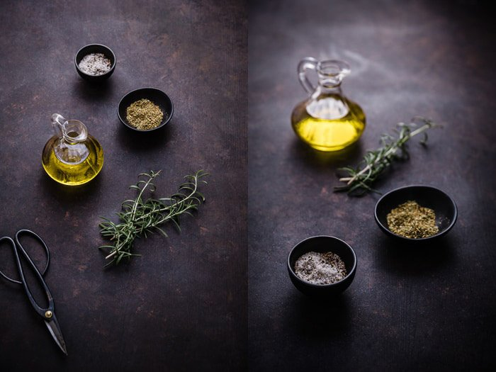 A dark and atmospheric fine art food photography still life diptych of olive oil and seasoning