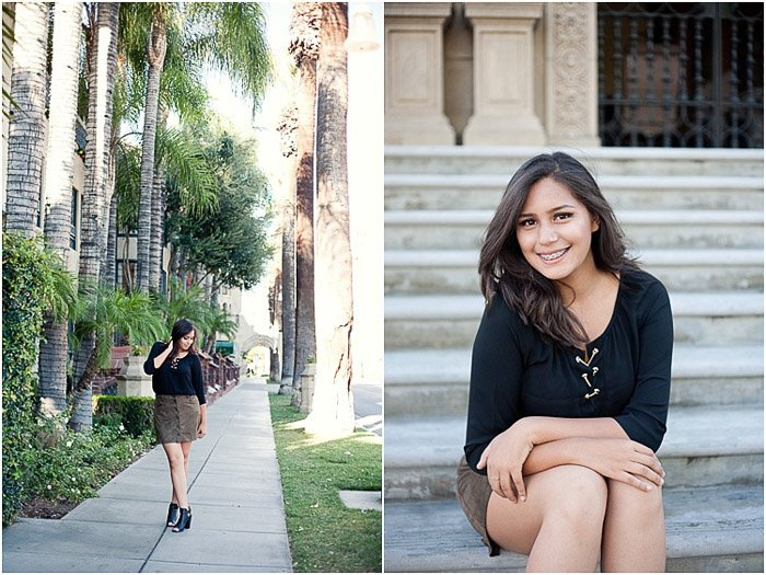 A bright and airy senior portrait diptych of a brunette girl posing casually outdoors