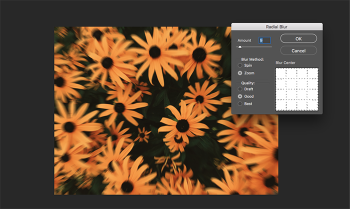 A screenshot of recreating zoom effect in Photoshop