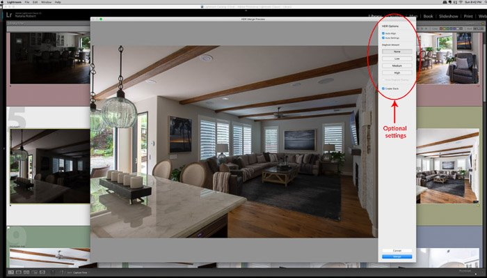 Screenshot showing a pop-up window for Photo Merge tool.- Lightroom HDR