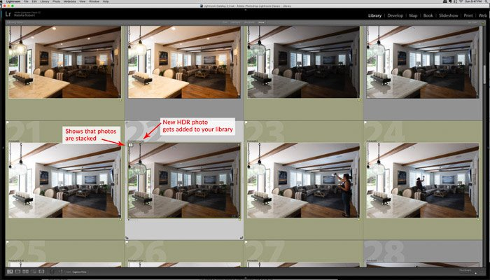 New HDR photos get added into your library. - how to merge photos