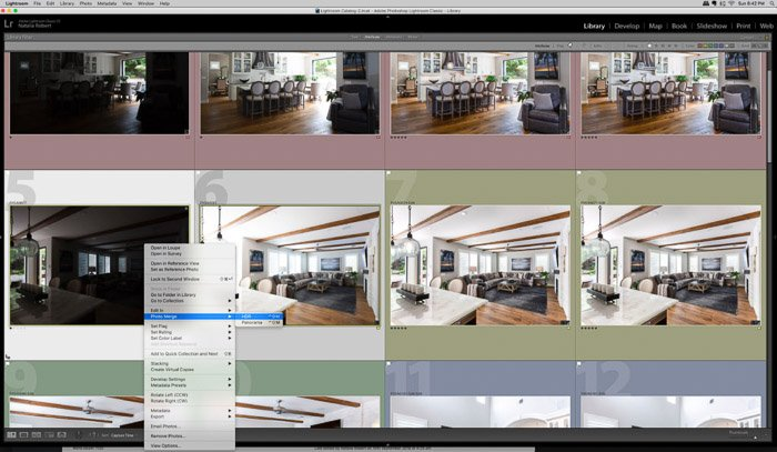 Screenshot showing how to reach Photo Merge tool through Lightroom menus.