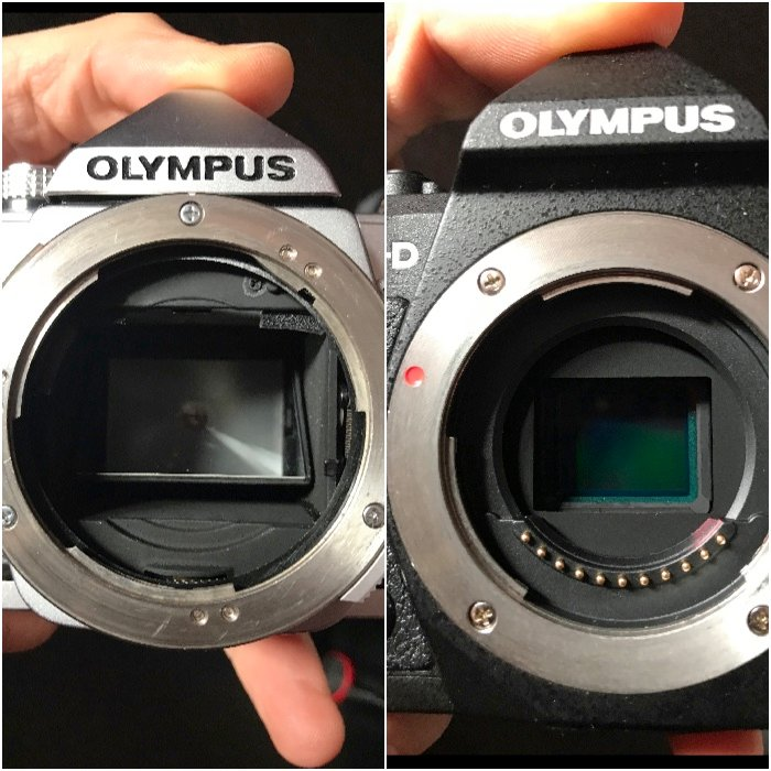 Diptych showing the mirror in the Olympus OM-1 SLR camera (left). On the right no mirror is present the interior of the modern Olympus OM-D EM-5 Mk ii mirrorless camera