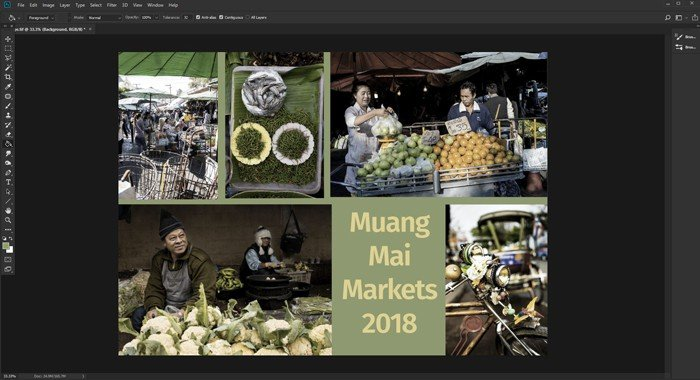 A screenshot of how to adjust the background layer of a Photoshop collage