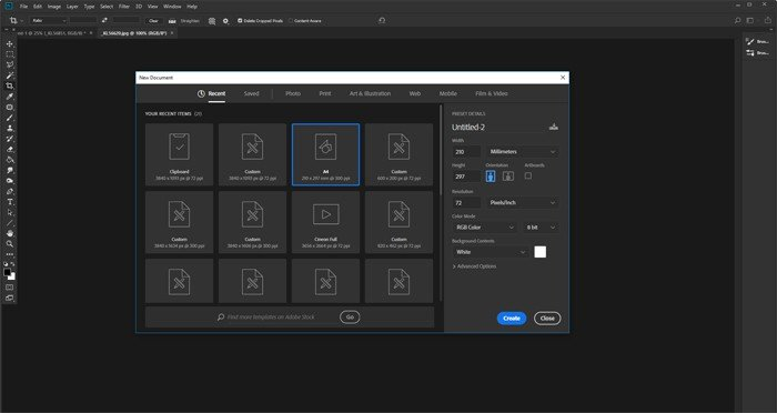 Screenshot of creating a new document in Photoshop
