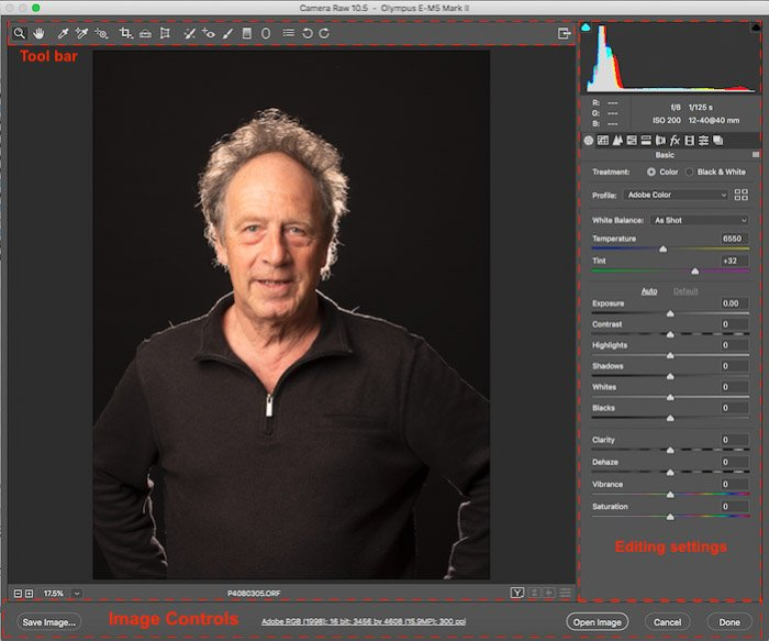 Screenshot of the three main sections of the ACR interface in Photoshop