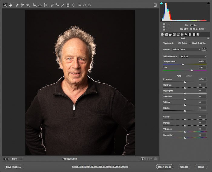 Screenshot of opening the RAW file with photoshop portrait editing