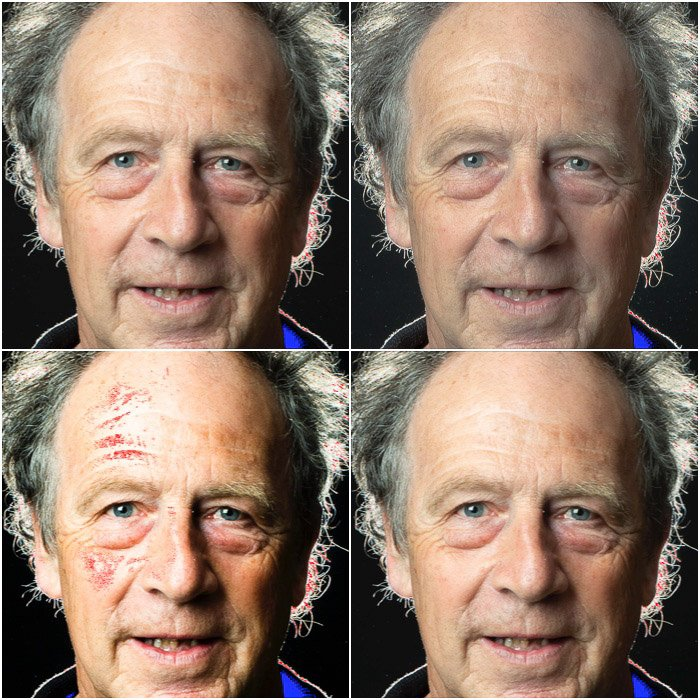 Four photo grid showing the effect of contrast in editing portraits in Photoshop