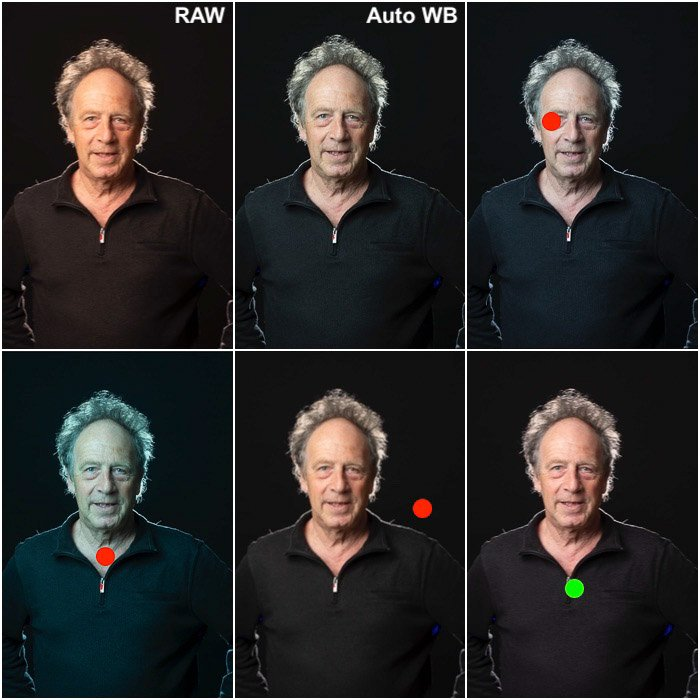 A 6 picture grid of the same photo, different white balance settings while looking for natural skin tones.