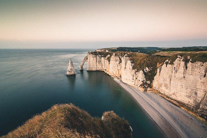 Long exposure seasonal landscape photography of a coast