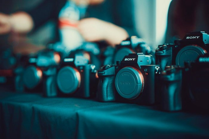 Close up of sony cameras on display - how to sell camera gear